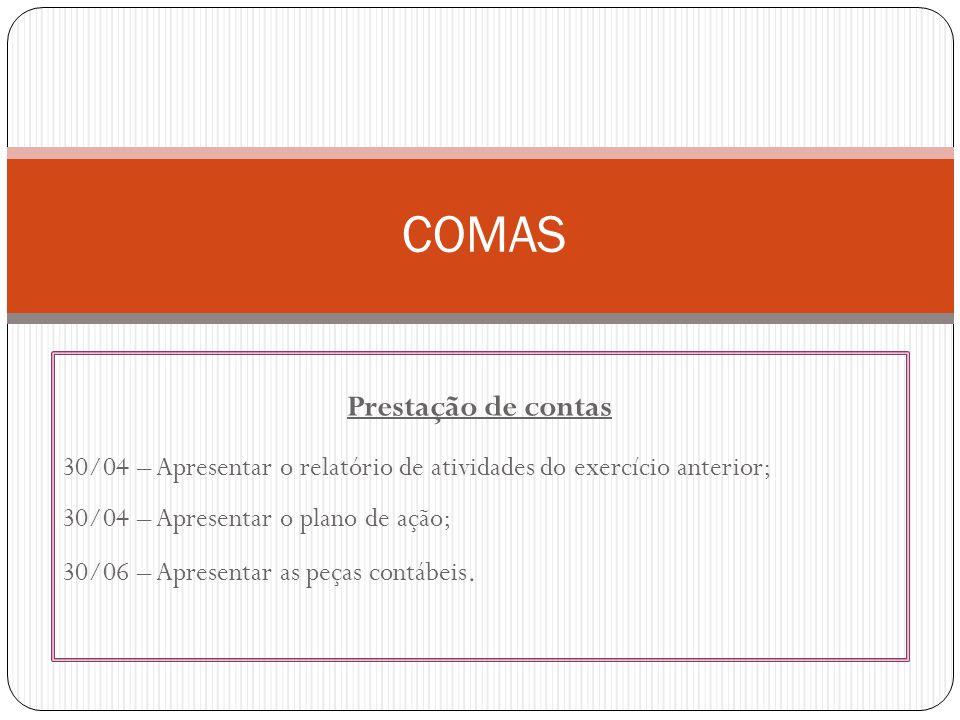 Prestação de contas 30/04 – Apresentar o relatório de atividades do exercício anterior; 30/04 – Apresentar o plano de ação; 30/06 – Apresentar as peças contábeis.