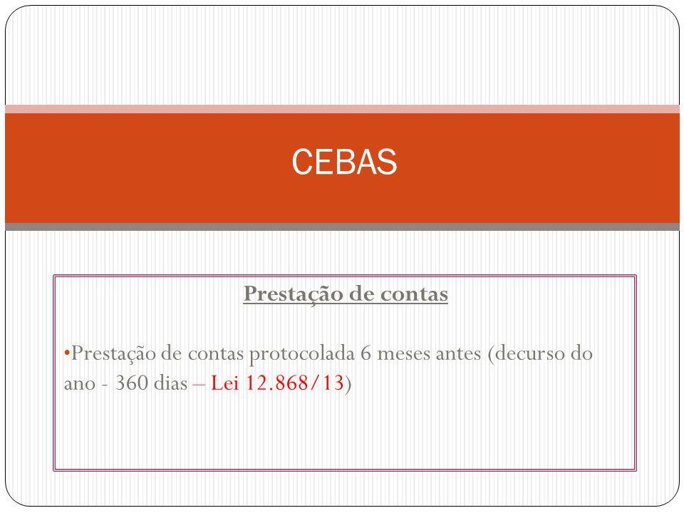 Prestação de contas Prestação de contas protocolada 6 meses antes (decurso do ano - 360 dias – Lei 12.868/13) CEBAS