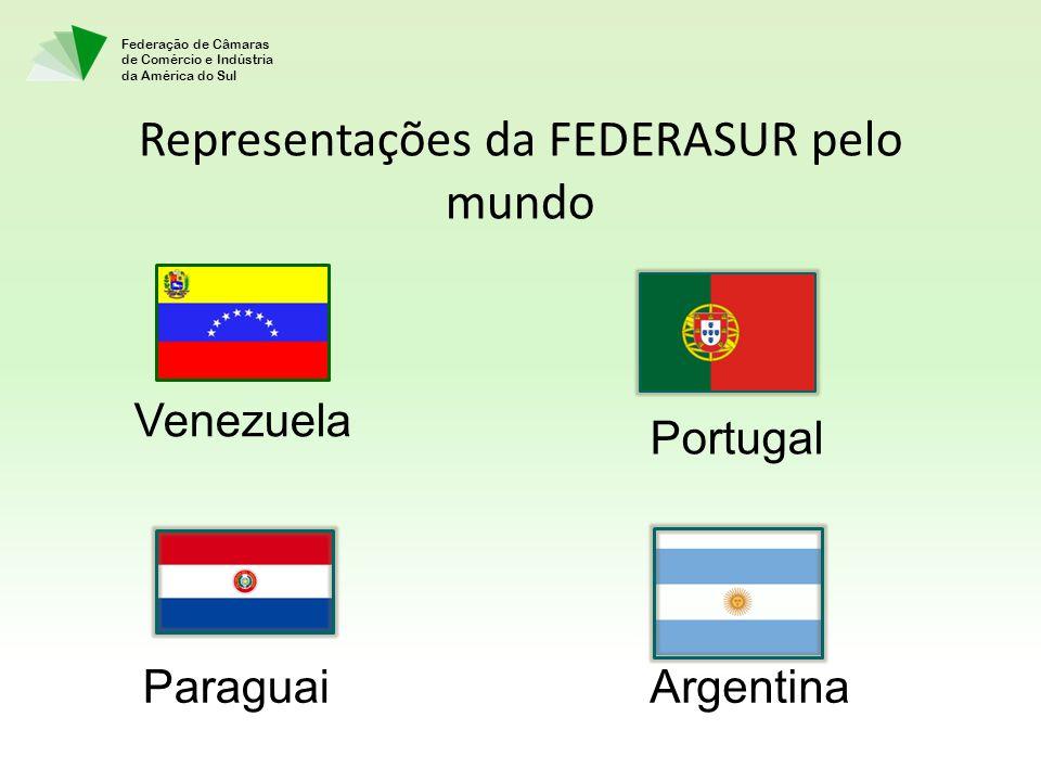 Federação de Câmaras de Comércio e Indústria da América do Sul Representações da FEDERASUR pelo mundo Venezuela Portugal ArgentinaParaguai