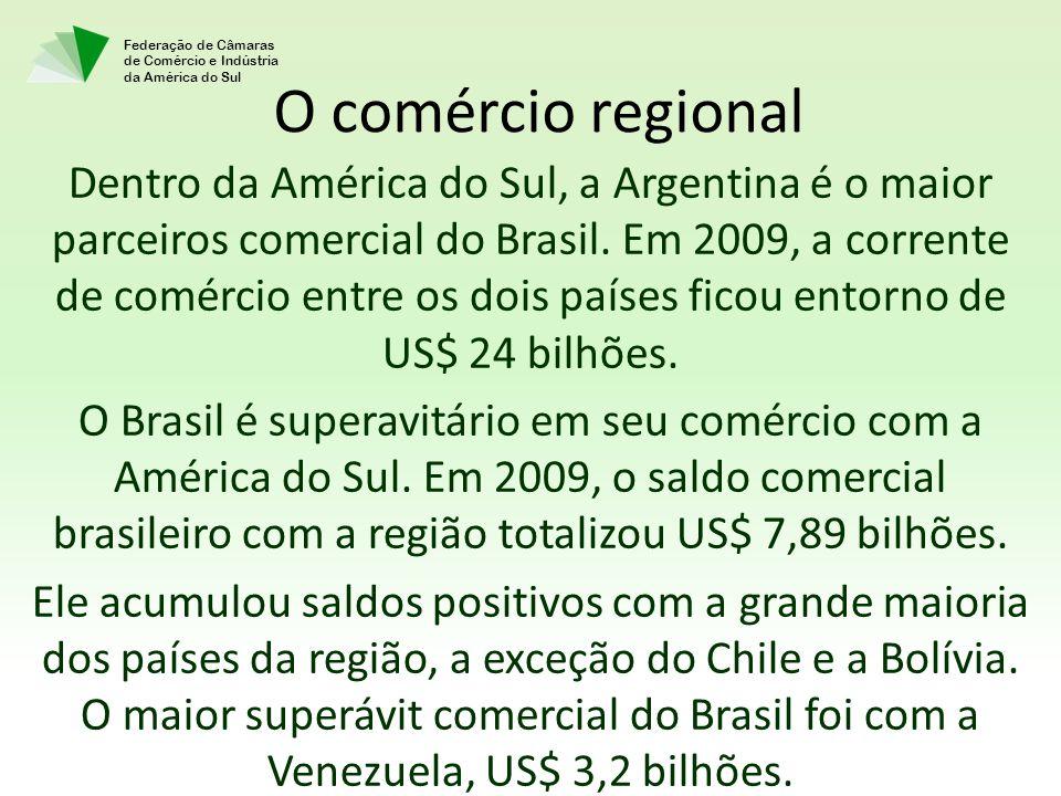 Federação de Câmaras de Comércio e Indústria da América do Sul Dentro da América do Sul, a Argentina é o maior parceiros comercial do Brasil.