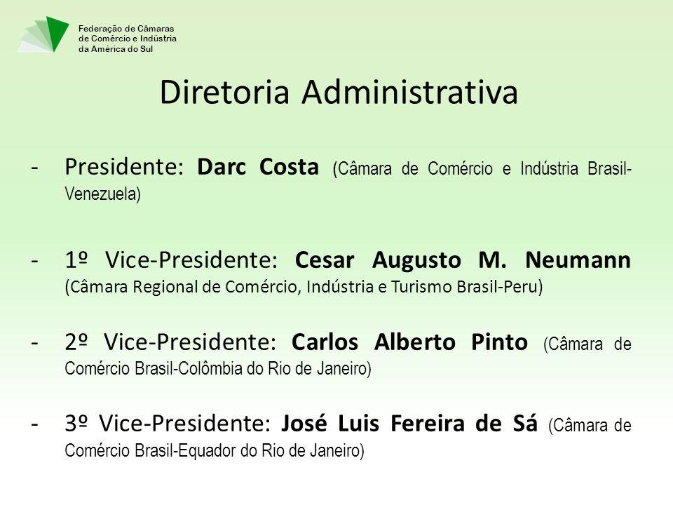 Federação de Câmaras de Comércio e Indústria da América do Sul Diretoria Administrativa -Presidente: Darc Costa ( Câmara de Comércio e Indústria Brasil- Venezuela) -1º Vice-Presidente: Cesar Augusto M.