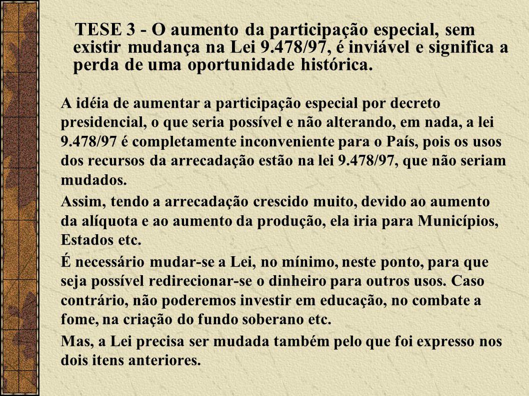 TESE 3 - O aumento da participação especial, sem existir mudança na Lei 9.478/97, é inviável e significa a perda de uma oportunidade histórica. A idéi