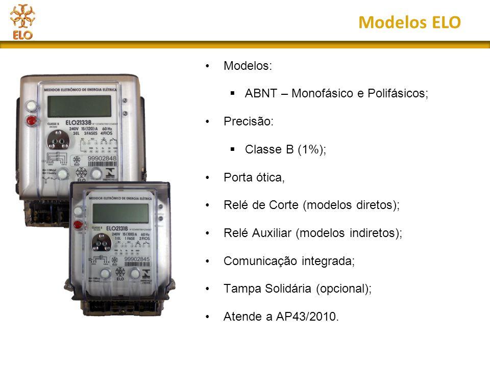 Modelos ELO Modelos:  ABNT – Monofásico e Polifásicos; Precisão:  Classe B (1%); Porta ótica, Relé de Corte (modelos diretos); Relé Auxiliar (modelo