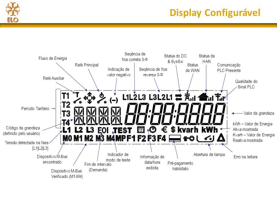 Display Configurável Período Tarifário Código da grandeza (definido pelo usuário) Dispositivo M-Bus encontrado Dispositivo M-Bus Verificado (M1-M4) Fi