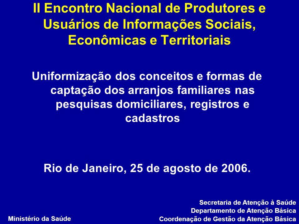 II Encontro Nacional de Produtores e Usuários de Informações Sociais, Econômicas e Territoriais Uniformização dos conceitos e formas de captação dos a