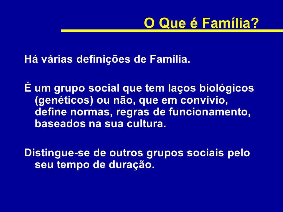 O Que é Família? Há várias definições de Família. É um grupo social que tem laços biológicos (genéticos) ou não, que em convívio, define normas, regra