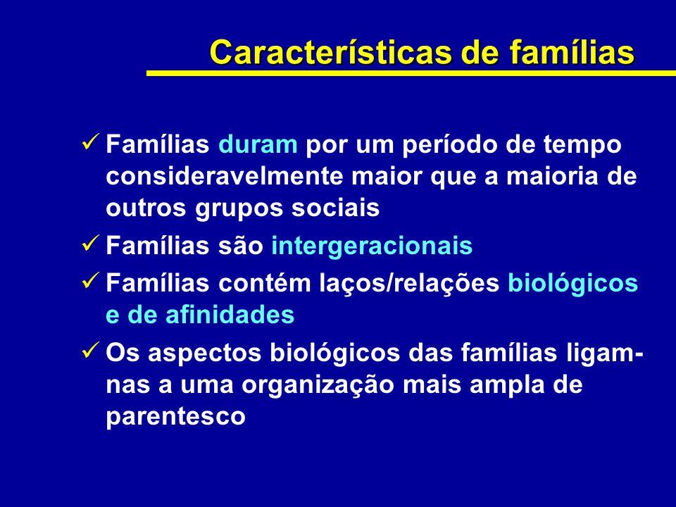 Características de famílias Famílias duram por um período de tempo consideravelmente maior que a maioria de outros grupos sociais Famílias são interge
