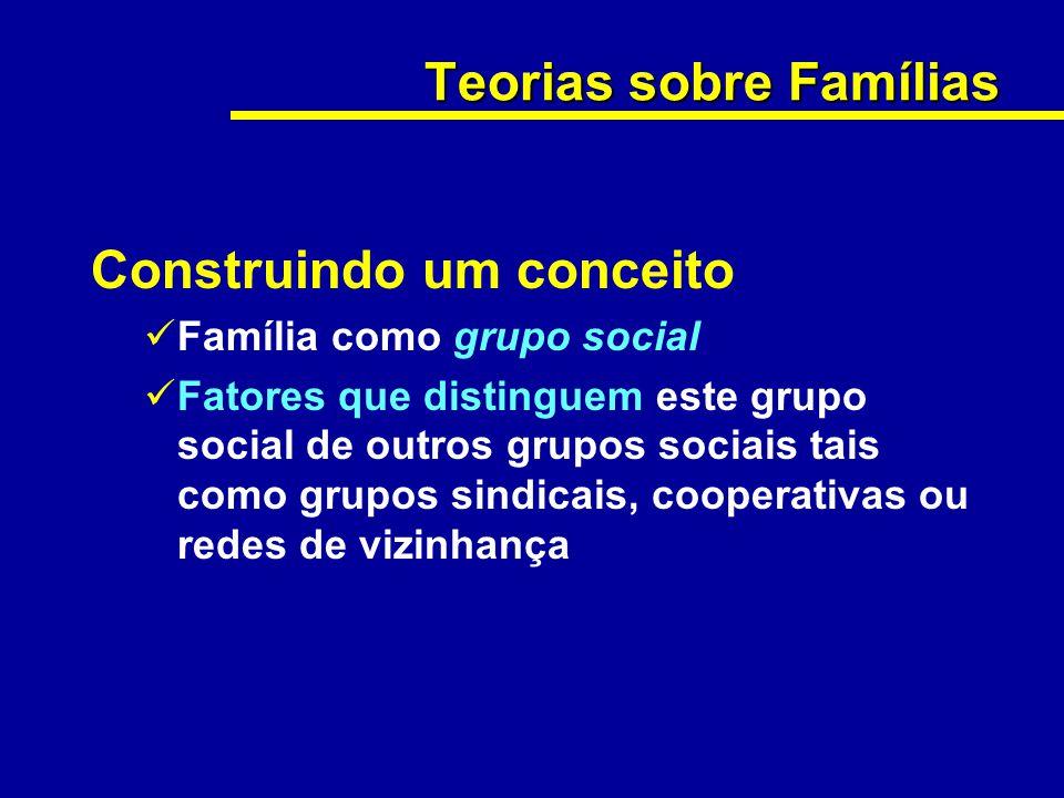 Teorias sobre Famílias Construindo um conceito Família como grupo social Fatores que distinguem este grupo social de outros grupos sociais tais como g