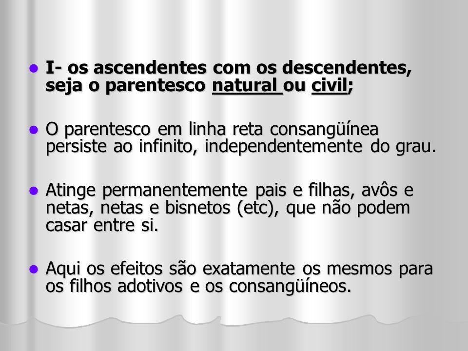 I- os ascendentes com os descendentes, seja o parentesco natural ou civil; I- os ascendentes com os descendentes, seja o parentesco natural ou civil;