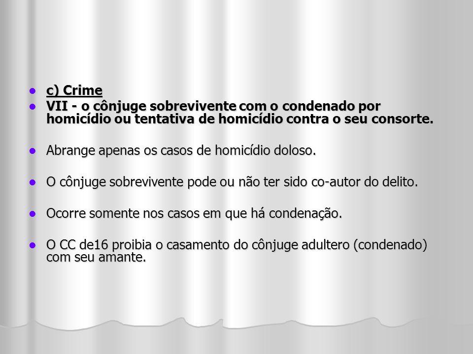 c) Crime c) Crime VII - o cônjuge sobrevivente com o condenado por homicídio ou tentativa de homicídio contra o seu consorte. VII - o cônjuge sobreviv