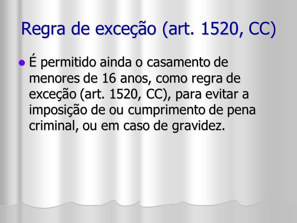 Regra de exceção (art. 1520, CC) É permitido ainda o casamento de menores de 16 anos, como regra de exceção (art. 1520, CC), para evitar a imposição d