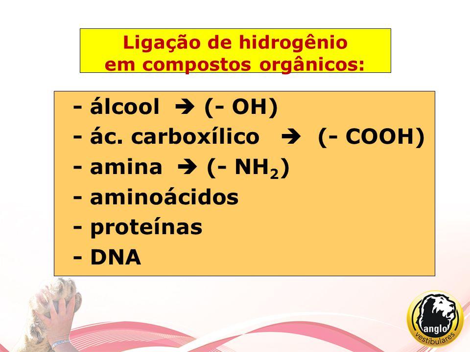 Ligação de hidrogênio em compostos orgânicos: - álcool  (- OH) - ác. carboxílico  (- COOH) - amina  (- NH 2 ) - aminoácidos - proteínas - DNA