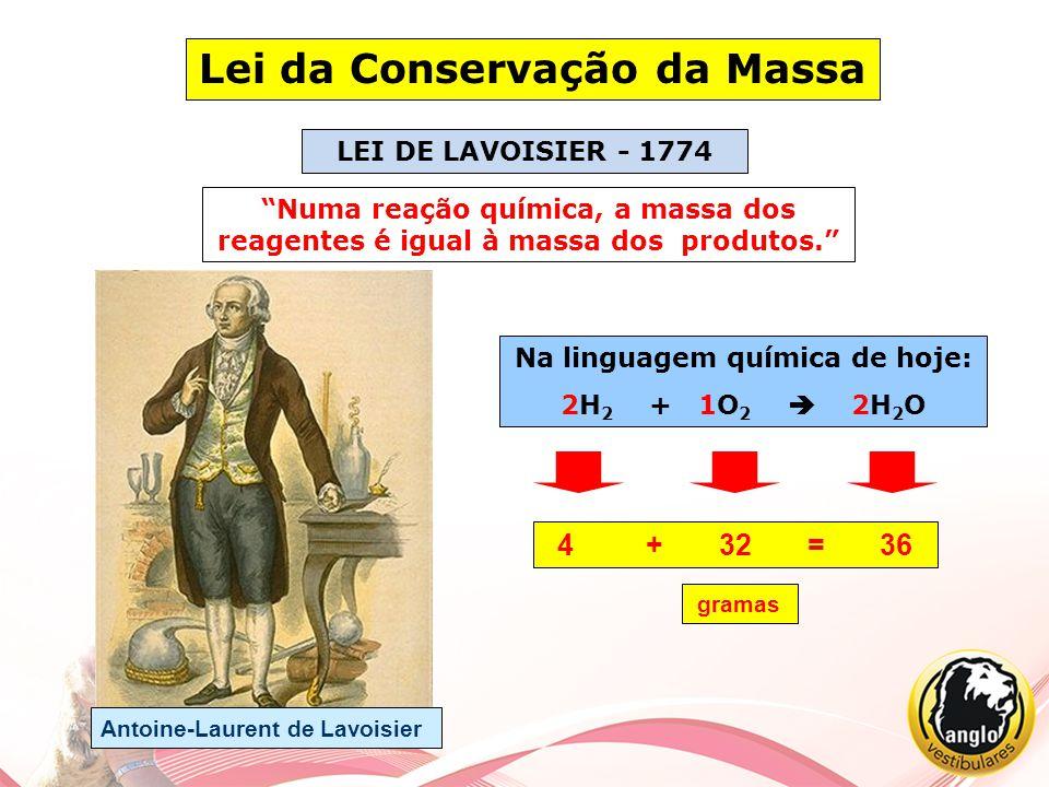 """Lei da Conservação da Massa """"Numa reação química, a massa dos reagentes é igual à massa dos produtos."""" LEI DE LAVOISIER - 1774 Na linguagem química de"""