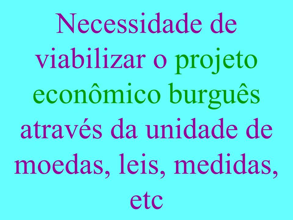 Necessidade de viabilizar o projeto econômico burguês através da unidade de moedas, leis, medidas, etc