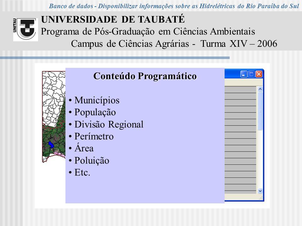 UNIVERSIDADE DE TAUBATÉ Programa de Pós-Graduação em Ciências Ambientais Campus de Ciências Agrárias - Turma XIV – 2006 Conteúdo Programático Municípios População Divisão Regional Perímetro Área Poluição Etc.