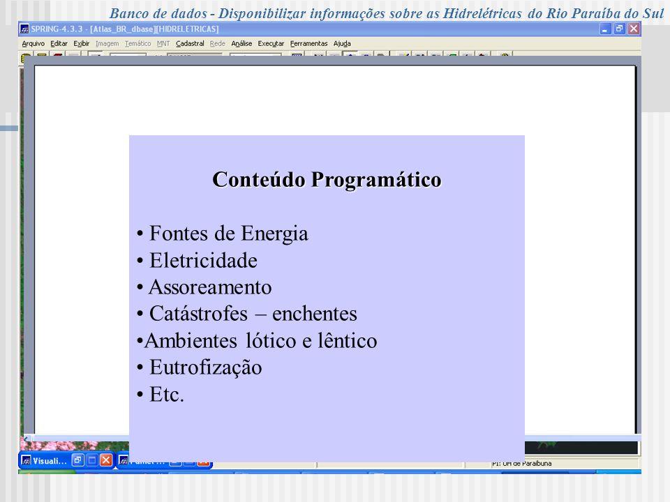 UNIVERSIDADE DE TAUBATÉ Programa de Pós-Graduação em Ciências Ambientais – PPG Campus de Ciências Agrárias - Turma XIV – 2006 Banco de dados - Disponi