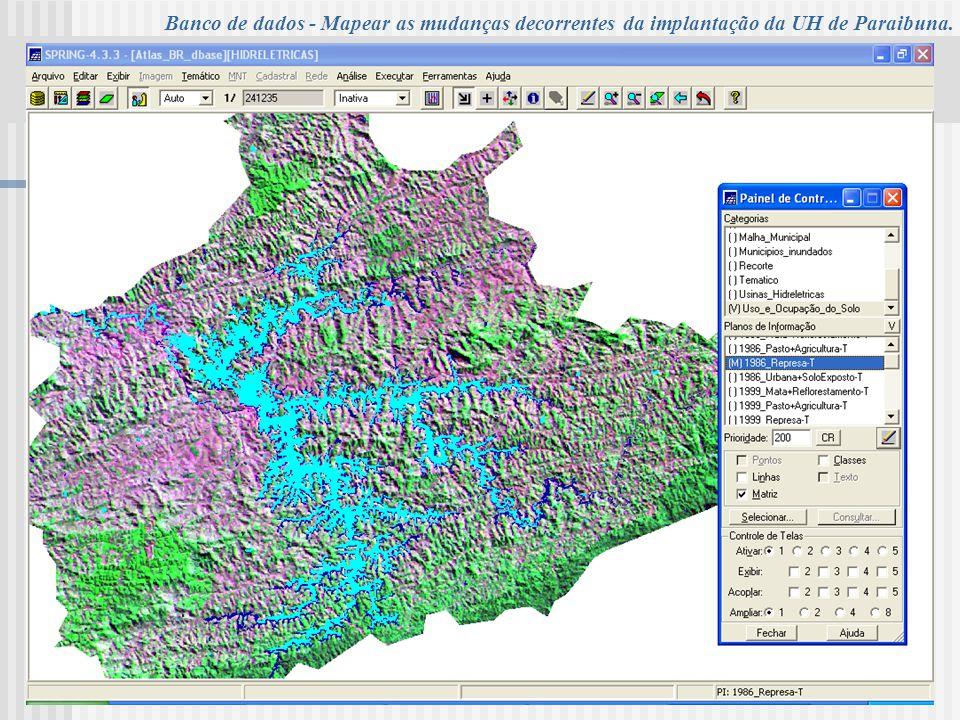 UNIVERSIDADE DE TAUBATÉ Programa de Pós-Graduação em Ciências Ambientais – PPG Banco de dados - Mapear as mudanças decorrentes da implantação da UH de Paraibuna.