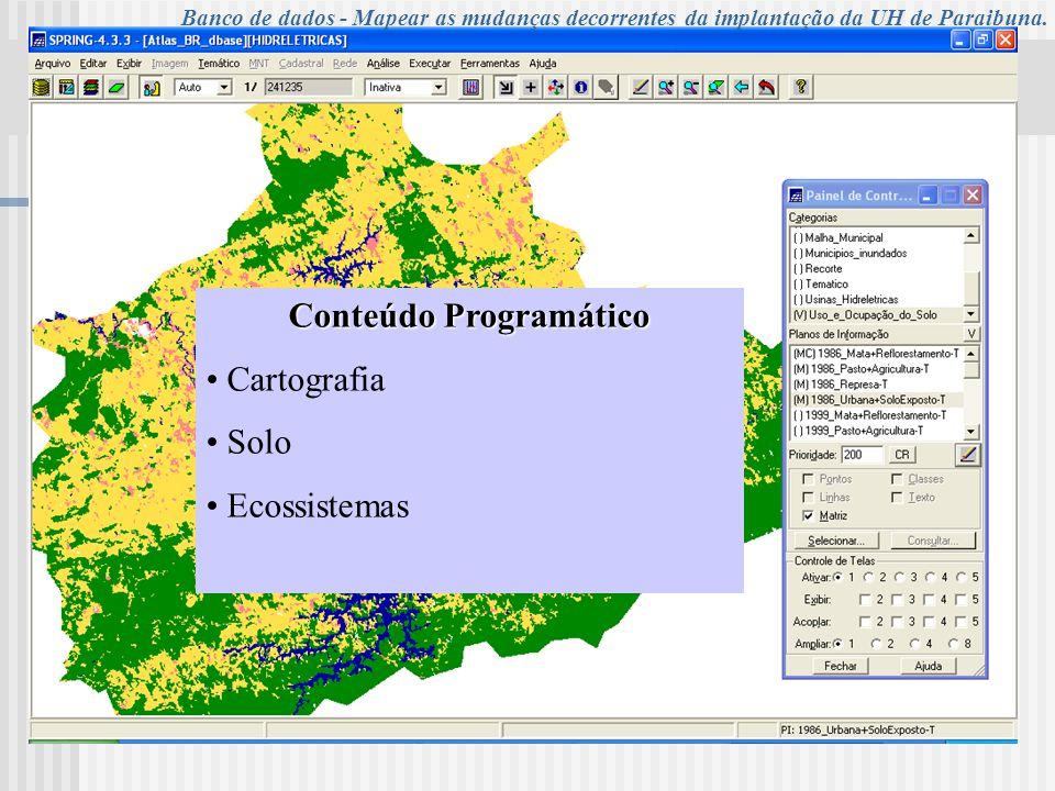 UNIVERSIDADE DE TAUBATÉ Programa de Pós-Graduação em Ciências Ambientais – PPG Conteúdo Programático Cartografia Solo Ecossistemas Banco de dados - Ma