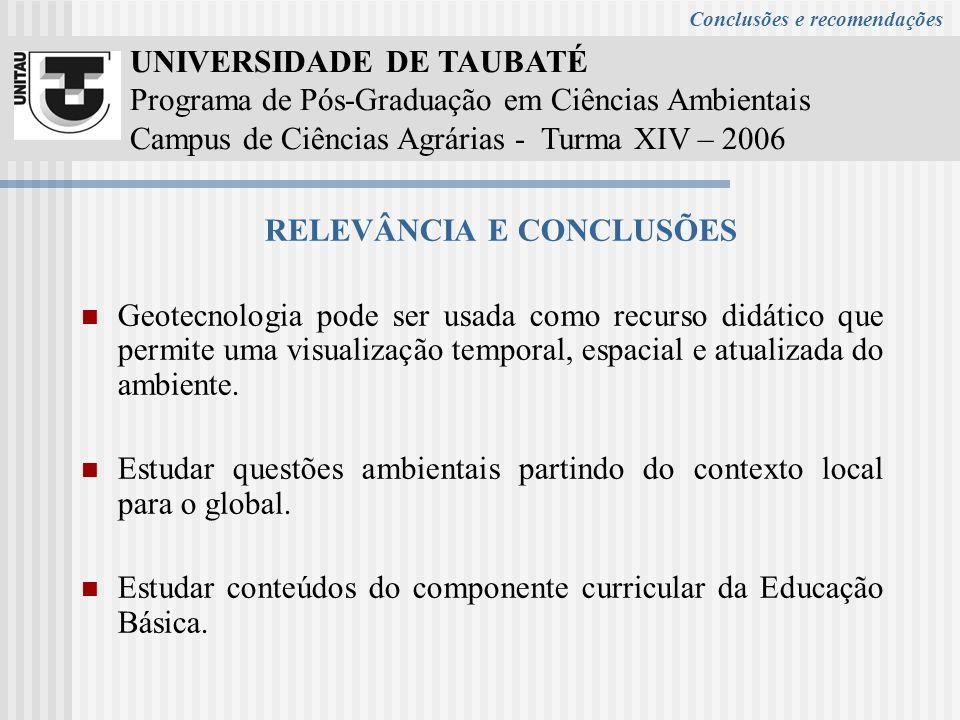 UNIVERSIDADE DE TAUBATÉ Programa de Pós-Graduação em Ciências Ambientais Campus de Ciências Agrárias - Turma XIV – 2006 RELEVÂNCIA E CONCLUSÕES Geotec