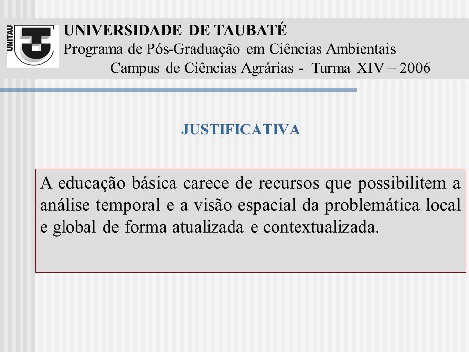 UNIVERSIDADE DE TAUBATÉ Programa de Pós-Graduação em Ciências Ambientais Campus de Ciências Agrárias - Turma XIV – 2006 JUSTIFICATIVA Educação Ambient