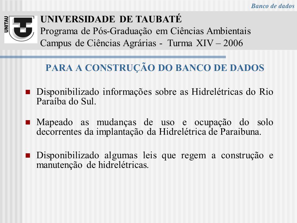 UNIVERSIDADE DE TAUBATÉ Programa de Pós-Graduação em Ciências Ambientais Campus de Ciências Agrárias - Turma XIV – 2006 PARA A CONSTRUÇÃO DO BANCO DE DADOS Disponibilizado informações sobre as Hidrelétricas do Rio Paraíba do Sul.