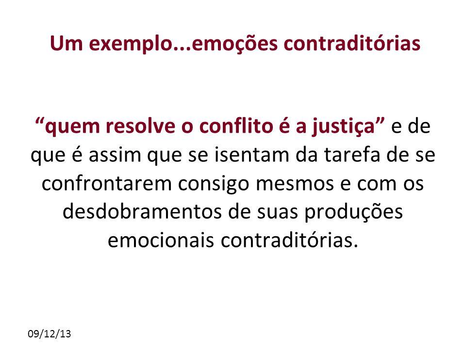 09/12/13 Um exemplo...emoções contraditórias quem resolve o conflito é a justiça e de que é assim que se isentam da tarefa de se confrontarem consigo mesmos e com os desdobramentos de suas produções emocionais contraditórias.