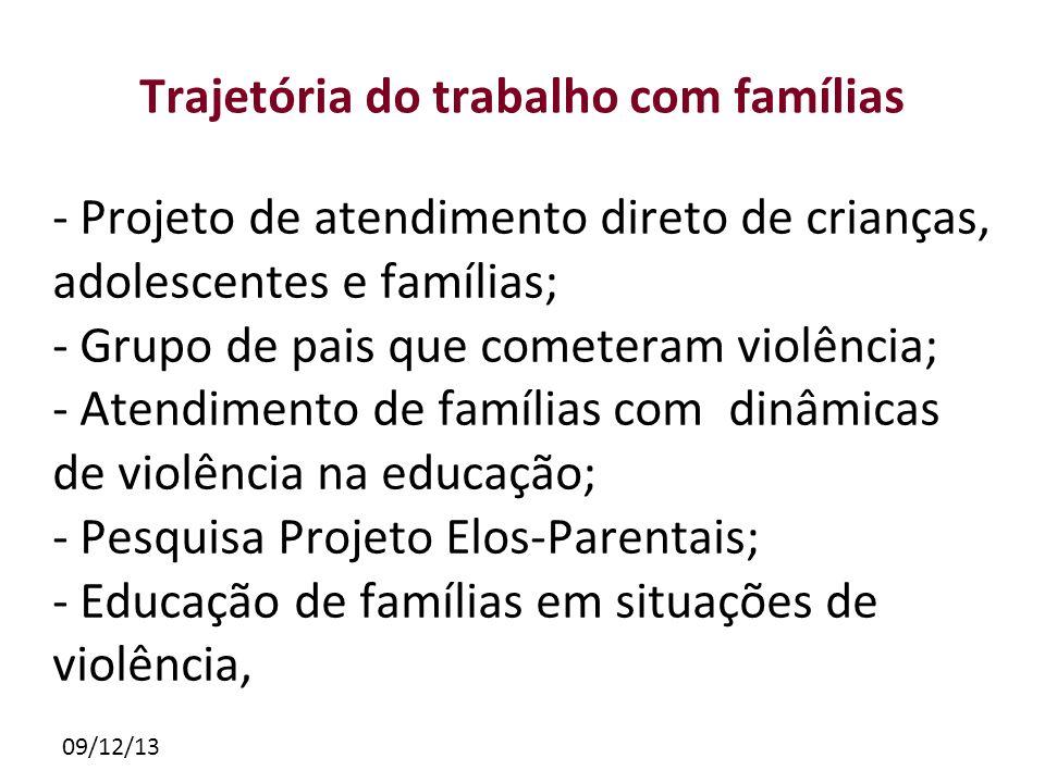 09/12/13 Trajetória do trabalho com famílias - Projeto de atendimento direto de crianças, adolescentes e famílias; - Grupo de pais que cometeram violê