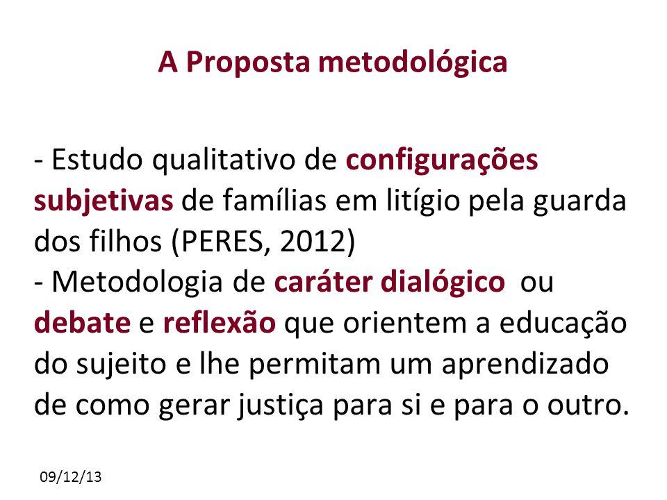 09/12/13 A Proposta metodológica - Estudo qualitativo de configurações subjetivas de famílias em litígio pela guarda dos filhos (PERES, 2012) - Metodo