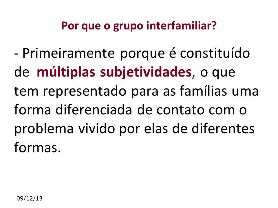 09/12/13 Por que o grupo interfamiliar? - Primeiramente porque é constituído de múltiplas subjetividades, o que tem representado para as famílias uma