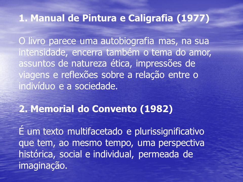 1. Manual de Pintura e Caligrafia (1977) O livro parece uma autobiografia mas, na sua intensidade, encerra também o tema do amor, assuntos de natureza