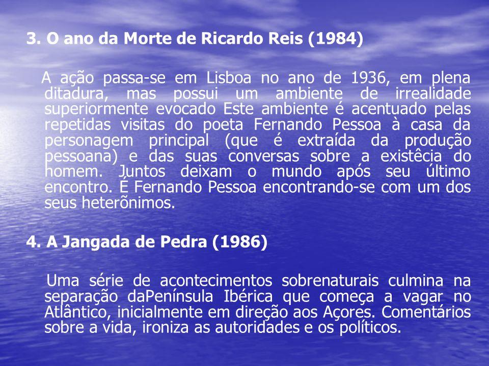 3. O ano da Morte de Ricardo Reis (1984) A ação passa-se em Lisboa no ano de 1936, em plena ditadura, mas possui um ambiente de irrealidade superiorme