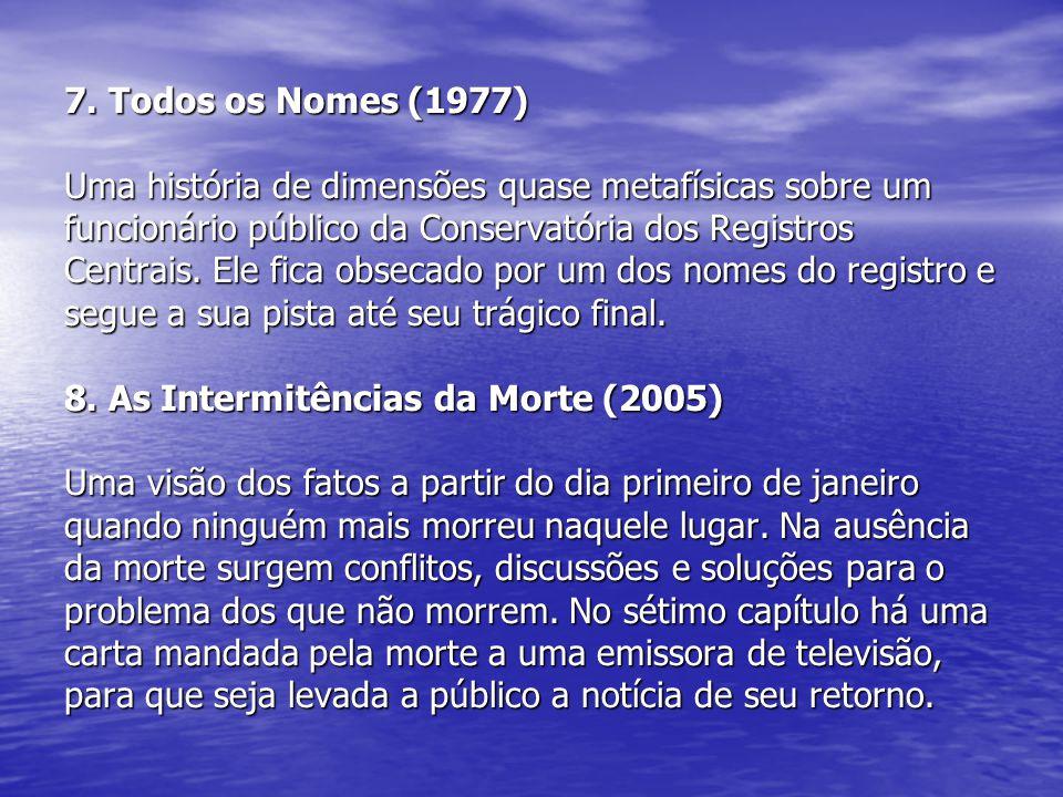 7. Todos os Nomes (1977) Uma história de dimensões quase metafísicas sobre um funcionário público da Conservatória dos Registros Centrais. Ele fica ob