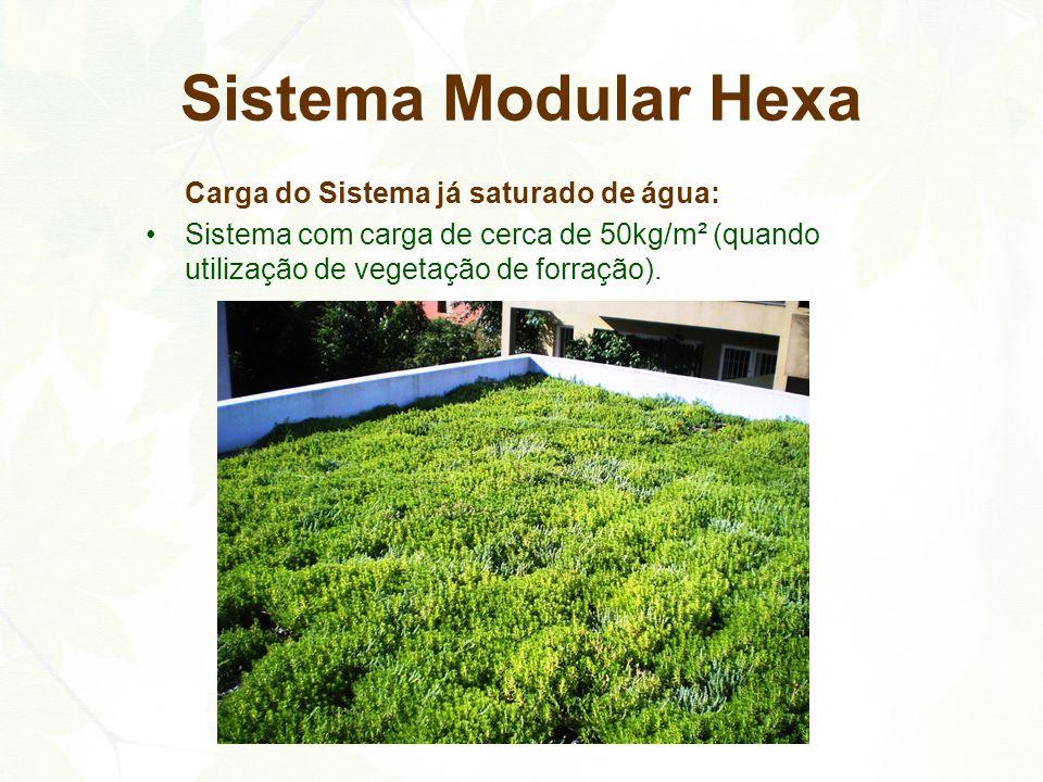 Carga do Sistema já saturado de água: Sistema com carga de cerca de 50kg/m² (quando utilização de vegetação de forração). Sistema Modular Hexa