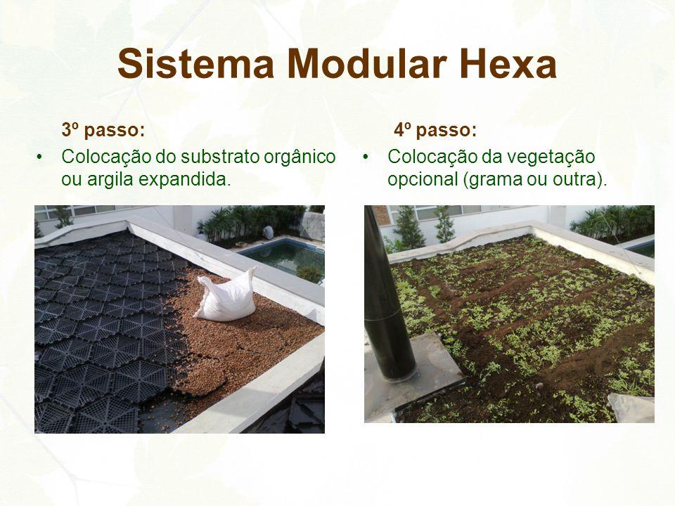 3º passo: Colocação do substrato orgânico ou argila expandida. 4º passo: Colocação da vegetação opcional (grama ou outra). Sistema Modular Hexa
