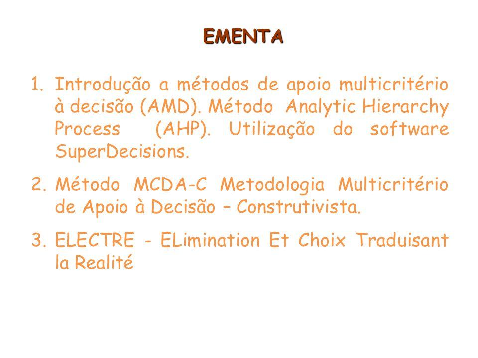 EMENTA 1.Introdução a métodos de apoio multicritério à decisão (AMD). Método Analytic Hierarchy Process (AHP). Utilização do software SuperDecisions.