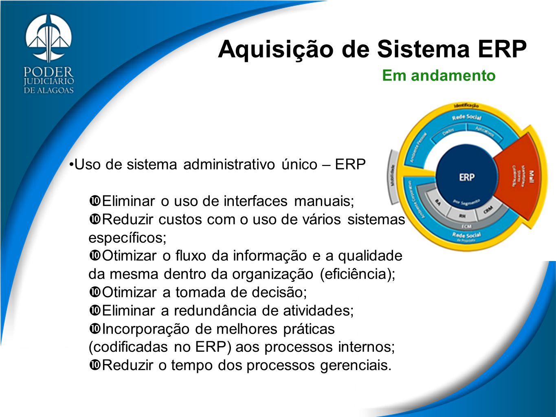 Aquisição de Sistema ERP Uso de sistema administrativo único – ERP  Eliminar o uso de interfaces manuais;  Reduzir custos com o uso de vários sistem