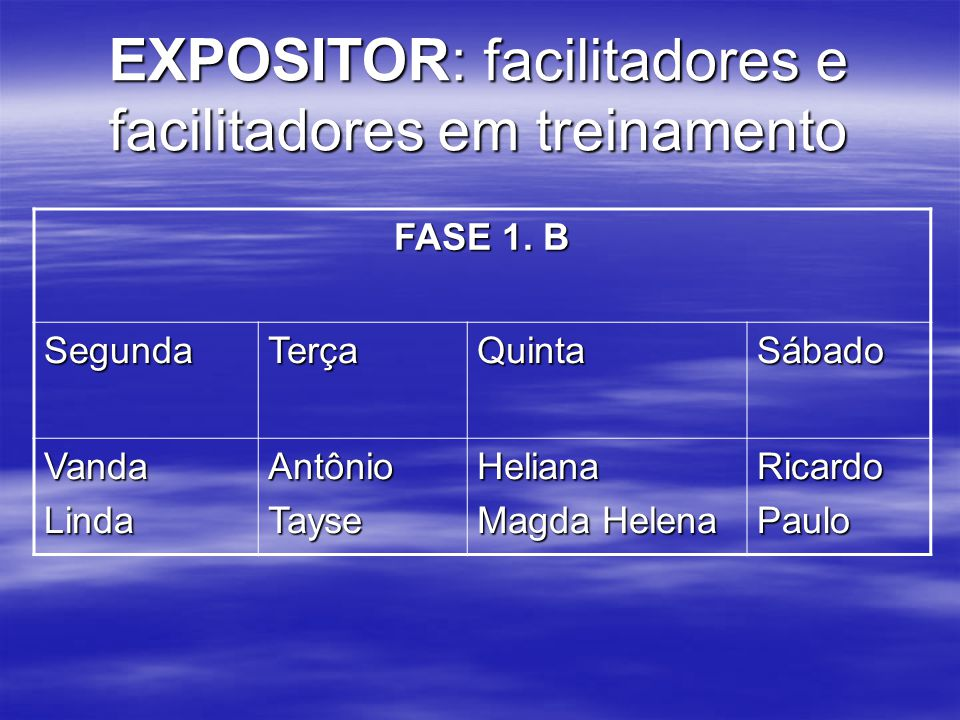 FASE 1. B SegundaTerçaQuintaSábado VandaLindaAntônioTayseHeliana Magda Helena RicardoPaulo