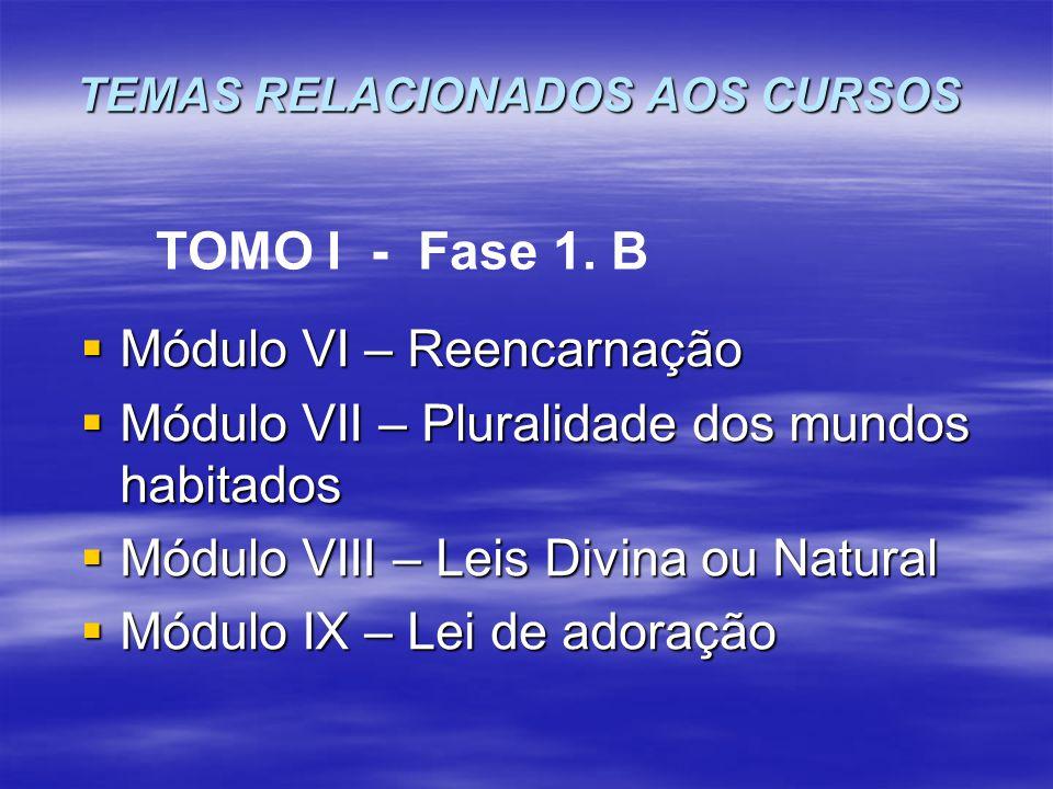  Módulo VI – Reencarnação  Módulo VII – Pluralidade dos mundos habitados  Módulo VIII – Leis Divina ou Natural  Módulo IX – Lei de adoração TOMO I