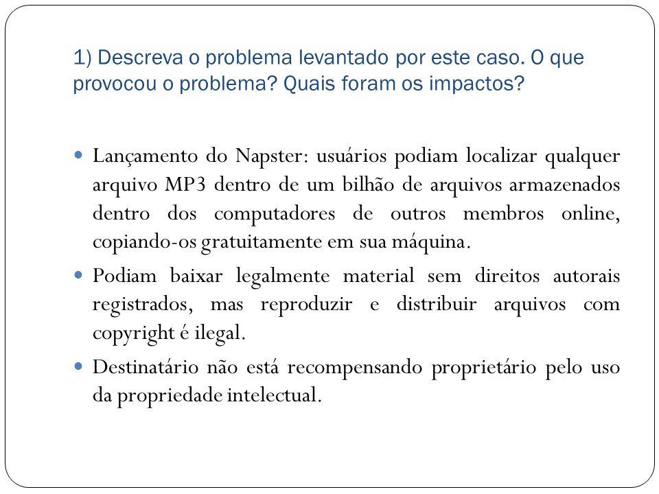 1) Descreva o problema levantado por este caso. O que provocou o problema? Quais foram os impactos? Lançamento do Napster: usuários podiam localizar q