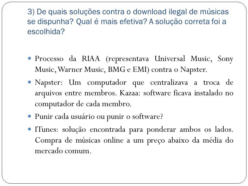 3) De quais soluções contra o download ilegal de músicas se dispunha? Qual é mais efetiva? A solução correta foi a escolhida? Processo da RIAA (repres
