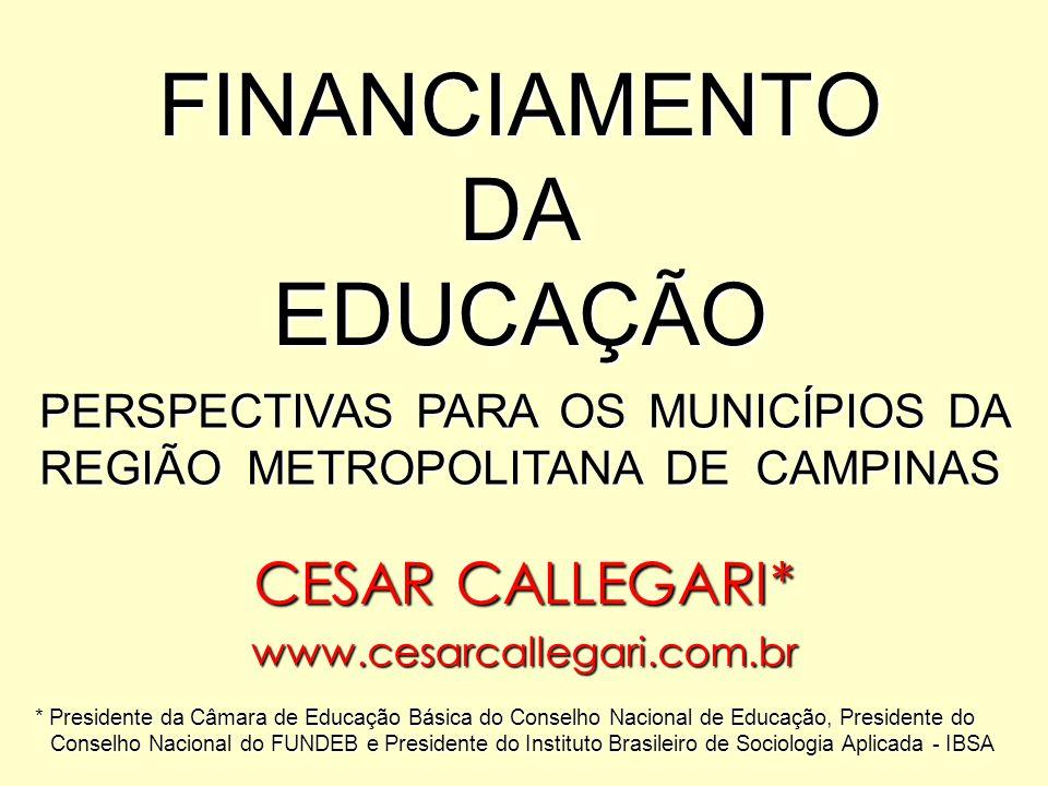 FINANCIAMENTO DA EDUCAÇÃO CESAR CALLEGARI* www.cesarcallegari.com.br * Presidente da Câmara de Educação Básica do Conselho Nacional de Educação, Presi