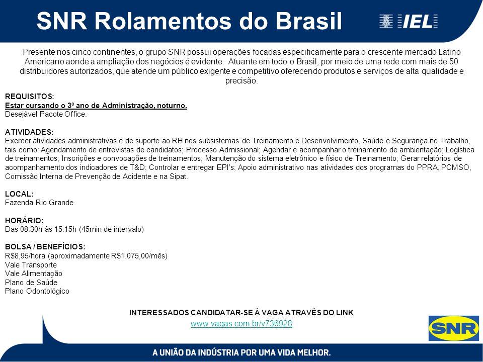 SNR Rolamentos do Brasil Presente nos cinco continentes, o grupo SNR possui operações focadas especificamente para o crescente mercado Latino American