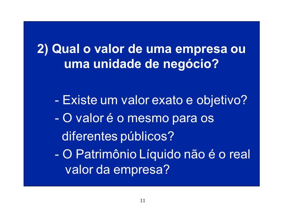 11 2) Qual o valor de uma empresa ou uma unidade de negócio.