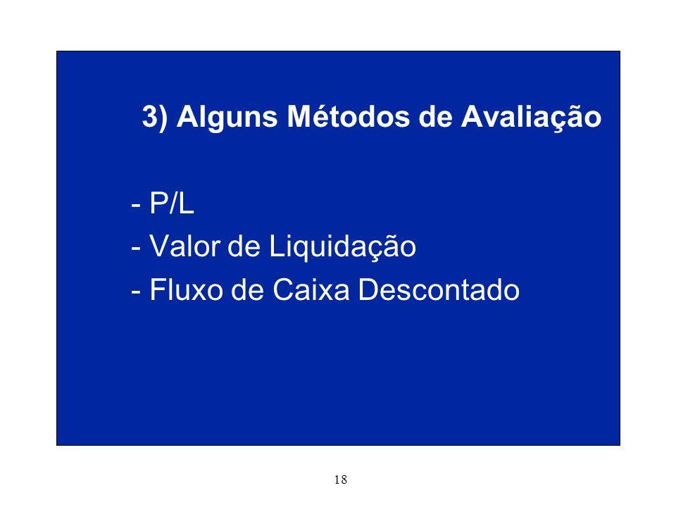 18 3) Alguns Métodos de Avaliação - P/L - Valor de Liquidação - Fluxo de Caixa Descontado