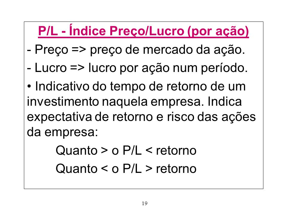 19 P/L - Índice Preço/Lucro (por ação) - Preço => preço de mercado da ação.