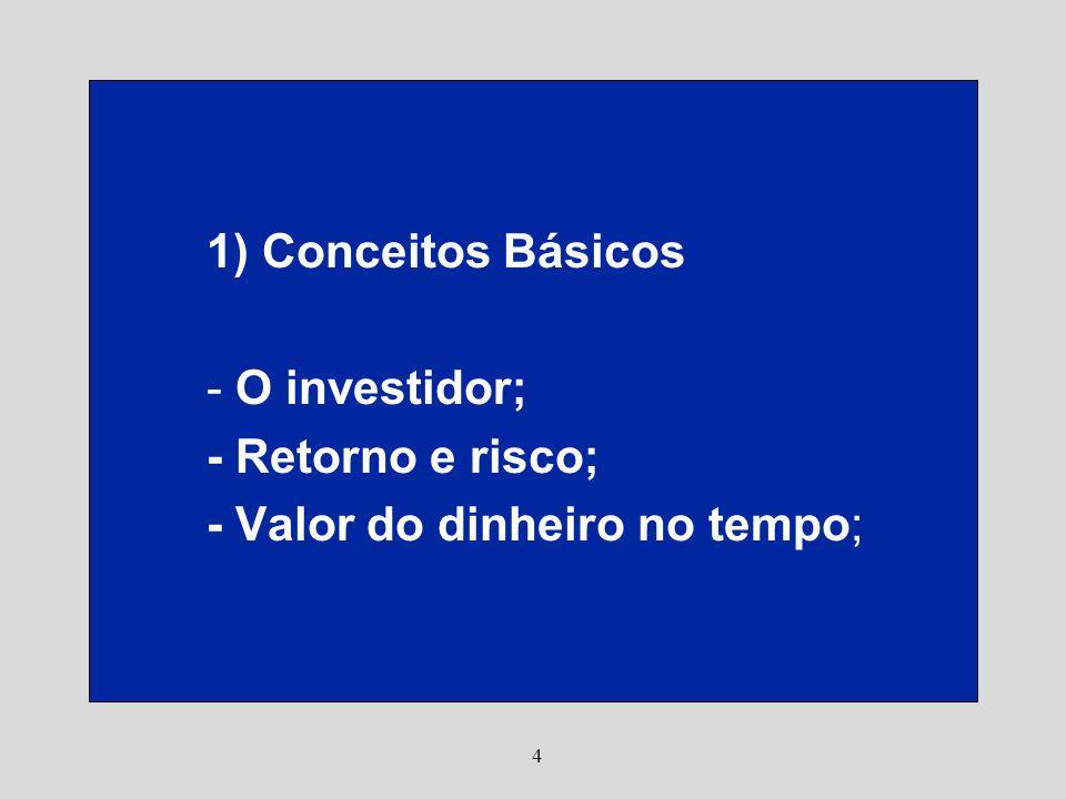 4 1) Conceitos Básicos - O investidor; - Retorno e risco; - Valor do dinheiro no tempo;