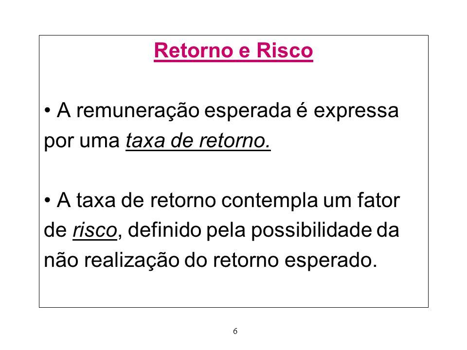 6 Retorno e Risco A remuneração esperada é expressa por uma taxa de retorno.