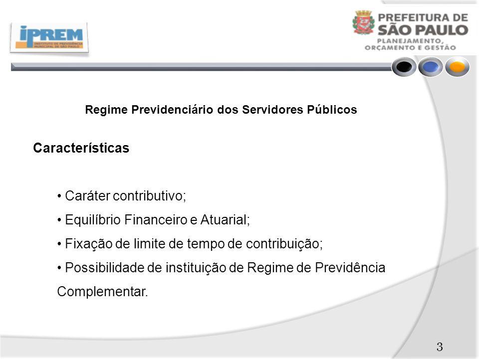 3 Regime Previdenciário dos Servidores Públicos Características Caráter contributivo; Equilíbrio Financeiro e Atuarial; Fixação de limite de tempo de contribuição; Possibilidade de instituição de Regime de Previdência Complementar.
