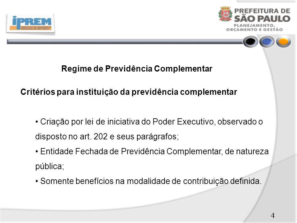 4 Regime de Previdência Complementar Critérios para instituição da previdência complementar Criação por lei de iniciativa do Poder Executivo, observado o disposto no art.