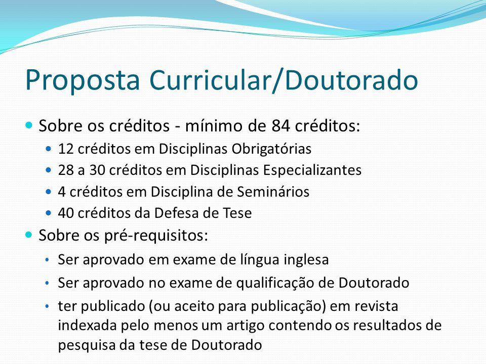 Sobre os créditos - mínimo de 84 créditos: 12 créditos em Disciplinas Obrigatórias 28 a 30 créditos em Disciplinas Especializantes 4 créditos em Disci